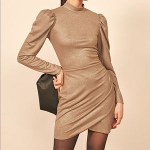 Reformation Gold Shimmer Lexi Dress